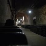 Stockage des bouteilles dans les caves Pommery à Reims
