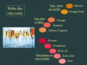 Couleurs vins rosés