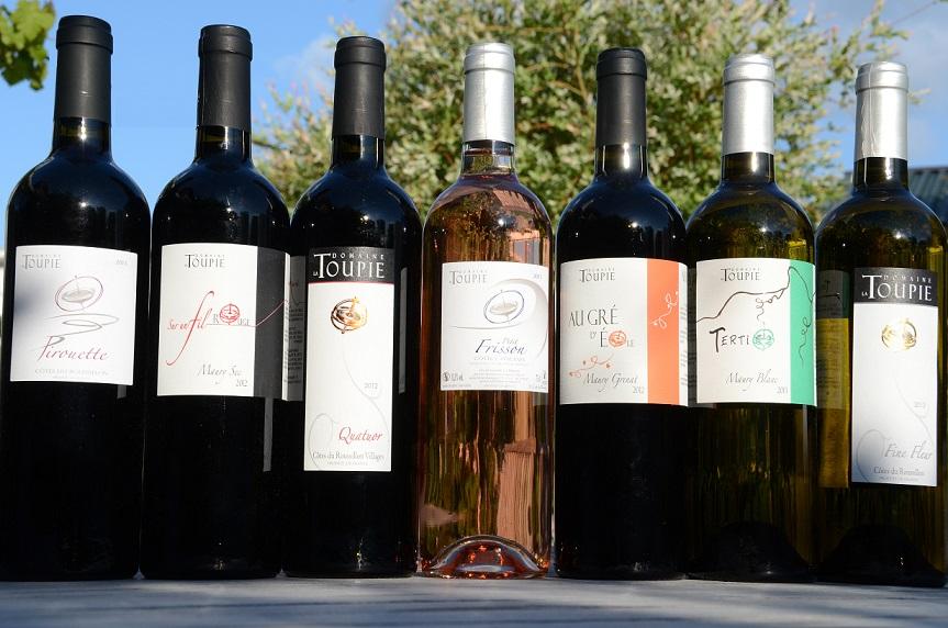 gamme complete des vins du domaine la toupie en roussillon