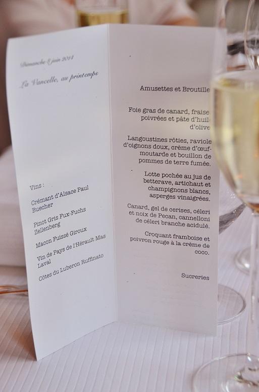 Auberge Frankenbourg - menu Quitou Wine Travel - Juin 2014