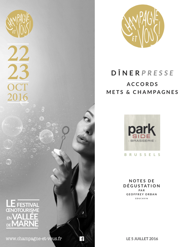 Dîner de Presse - Park Side Brasserie - Vignerons de la Vallée de la Marne